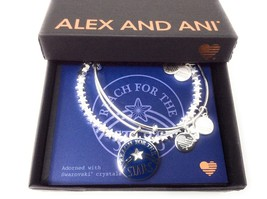 Alex and Ani Reach for The Stars Set of 2 Bangle Bracelet, Shiny Silver ... - $54.44