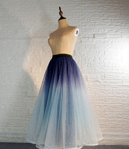 Women Frozen Blue Tulle Skirt Outfit Multi-Color Plus Size Wedding Party Skirt image 4