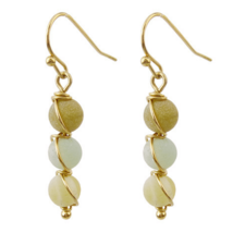 Stone Beaded Gold Dangle Earrings Fashion Jewelry For Women Gift Bohemian - $13.78