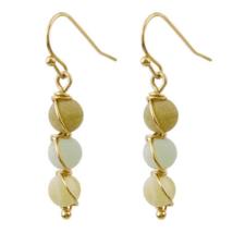 Stone Beaded Gold Dangle Earrings Fashion Jewelry For Women Gift Bohemian - $13.78