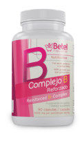 B Complex + (Complejo B +) with Ginkgo Biloba Capsules by Betel Natural - 90 Cap - $15.94