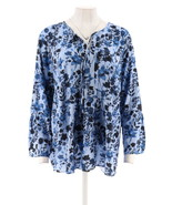 Kelly Clinton Kelly Printed Poet Blouse Tie IndgoWatercolor M NEW A289815 - $34.63