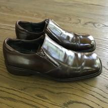 Bostonian US Men's 9.5 Brown Leather side Zip Dress Square Toe Shoes, Spain - $20.79