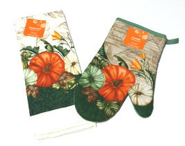 Fall Autumn Harvest Thanksgiving Kitchen Dish Towel Oven Mitt Set Pumpki... - $5.99