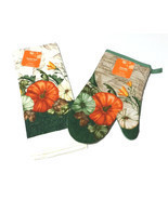Fall Autumn Harvest Thanksgiving Kitchen Dish Towel Oven Mitt Set Pumpki... - £4.59 GBP