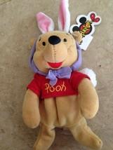 "Disney Mouseketoys Easter Bunny Pooh bear 8"" Plush Mini Bean Bag Toy new tag - $9.40"