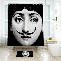 Funny Face Shower Curtain Waterproof Polyester Fabric & Bath Mat For Bat... - $16.30+