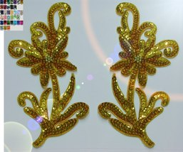 pair appliques sequins applikationen pailletten sew on embroidery handmade ap140 - $9.99