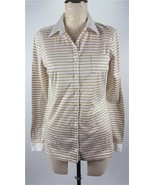 TOMMY HILFIGER women's NWT white-pumice striped classic long sleeve flag... - $33.66