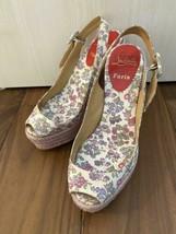 Christian Louboutin Compensé Semelle Sandales Talon Chaussure Floral Rose Violet - $263.32