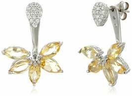Sterling Silver 925 3.6 Ct Marquise Citrine Cubic Zirconia Floral Earring Jacket image 1