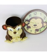 Monkey Resin Garbage Can and Matching Wood Clock Monkey Waste  - $79.19