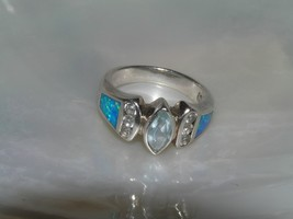 Estate 925 Marked Silver Lab Created Opal with Light Blue Topaz Marquise... - $23.26