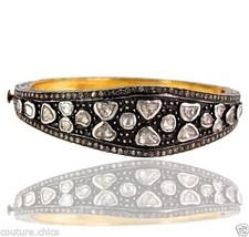 14k Gold Rose Cut 3.4ct Natural Diamond Pave Bangle Bracelet 925 Sterling Silver - $1,231.07