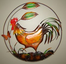 Country Rooster Metal Wall Decor Plaque Round 20 inches - $59.39
