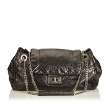Pre-Loved Chanel Black Others Leather Perforated Drill Accordion Flap Ba... - $1,006.44