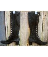 Black Velvet Lace Up Boots Halloween Costume - $15.00