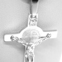 18K WHITE GOLD CROSS, JESUS & SAINT BENEDICT MEDAL, BIG 2.1 INCHES, ITALY MADE image 5