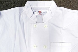 Dickies Chef Jacket L CW070315A Double Breasted Coat Button Front White S/S New - $21.53