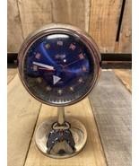 Vintage Space Age Linden Japan Wind Up Alarm Clock Blue Silver Face Glow In Dark - $186.07