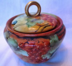 Antique Rosenthal Thomas signed sugar bowl with lid Grapes Signed Hoffman - $60.00