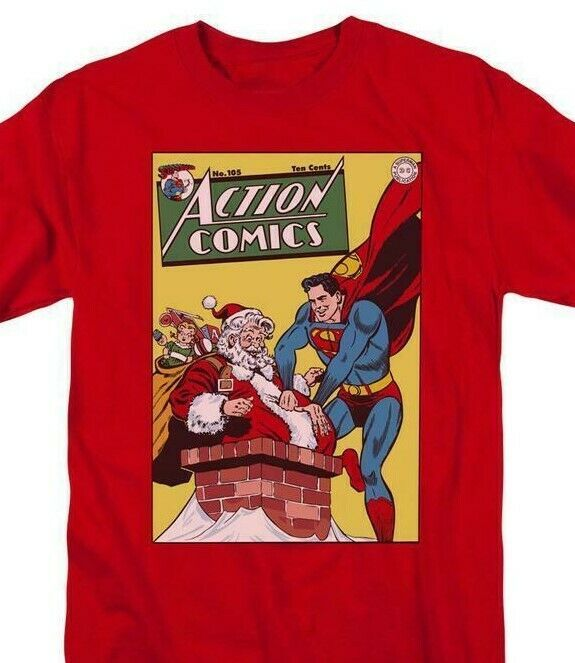 Superman T-shirt Santa Claus DC comic book Batman superhero Christmas tee DCO736