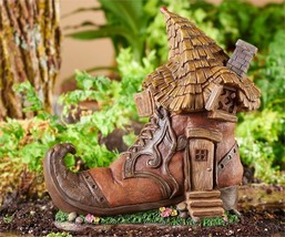 "10.2"" Solar Powered Light Up Old Fashioned Curl Toe Shoe Design Gnome House"