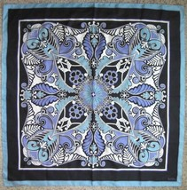"NICOLE MILLER Silk Scarf Large 34"" Square Lady Womens White Blue Black T... - £23.94 GBP"