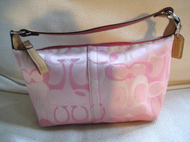 Authentic Coach Handbag Optic Signature Pink Canvas Leather Demi Pouch 6561 - $42.56