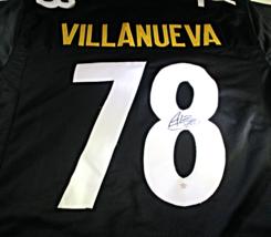 ALEJANDRO VILLANEUVA / HAND SIGNED PITTSBURGH STEELERS BLACK CUSTOM JERSEY / COA