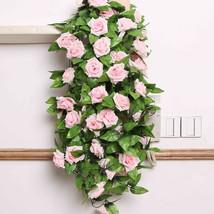 Artificial Plants Rose Rattan Simulation 2.4M DIY Flower Vine Home Garden - $4.52
