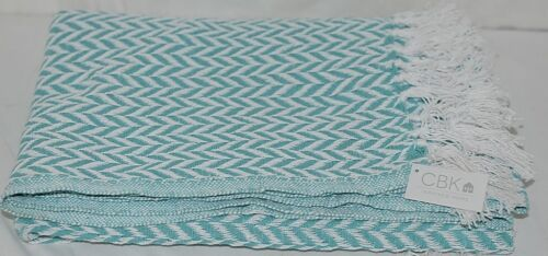CBK Brand 147925 100 Percent Cotton Aqua White Chevron Thow Blanket