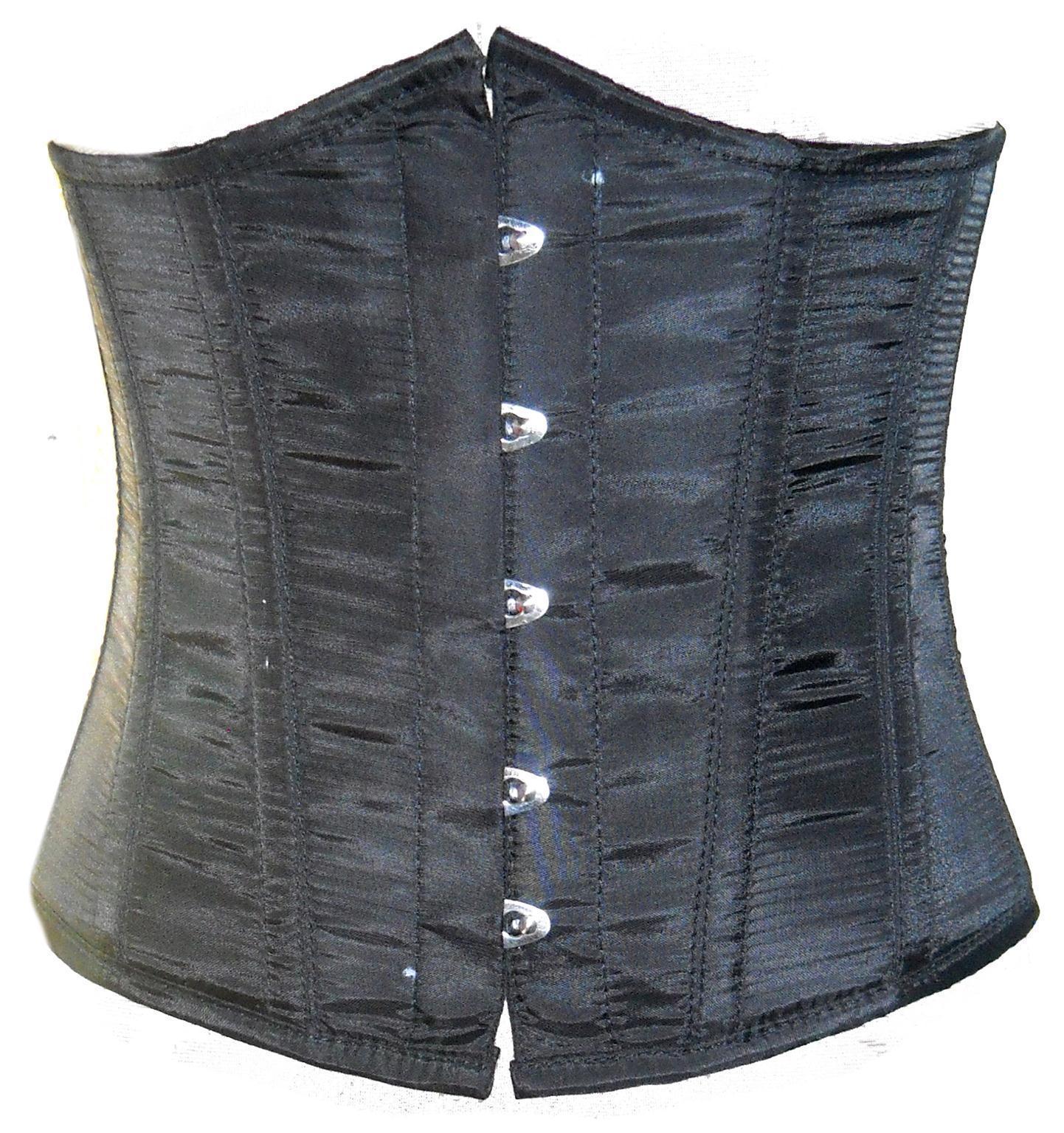 Black Poly Tapta Fabric Front Open Busk Waist Cincher Women Underbust Corset Top