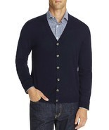 NEW BLOOMINGDALES NAVY BARUFFA EXTRA FINE MERINO WOOL CARDIGAN SWEATER L - £46.24 GBP