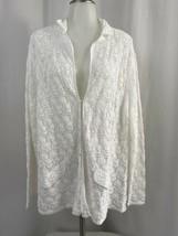 Talbots Woman 100% Cotton White Crochet Long Sleeve Sweater Size 1X - $37.99