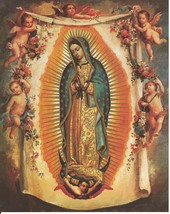 "Catholic Print Picture OUR LADY OF GUADALUPE w/ Angels Virgin Mary 8x10""... - $14.01"