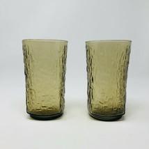 2 Vintage Anchor Hocking PAGODA glasses Tawny Brown Bamboo Mid Century G... - $17.82