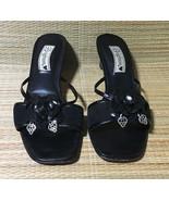 Brighton RAINA Black Suede Leather Open Toe Slide Shoes + Box • Size 7.5 M - $17.77