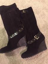 MICHAEL KORS US 10 M Brown Suede Belted Wedge Heel Knee High Boots - $74.79