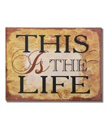 """Adeco Decorative Wood Wall Hanging Sign Plaque """"This Is The Life"""" Gold Brown - $19.31"""
