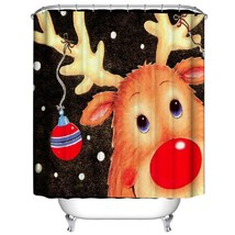 Christmas Waterproof Polyester Bathroom Shower Curtain Decor With Hooks New hook - $31.84