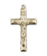 Traditional 1 5/8 x 7/8 Inch 14kt Gold Crucifix Cross Necklace Pendant - $1,299.99