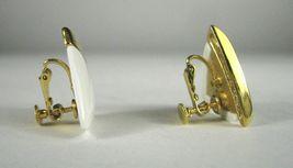 NAPIER Clip Earring Screw Back White Lucite Goldtone Signed VTG Vintage image 4