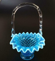 Fenton Blue Basket Opalescent Hobnail Crimped Edge Vtg Small FREE SHIP - $39.50