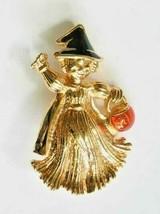 "Avon Festive Enamel Gold-tone Halloween Sraw-woman Witch Brooch 1 3/4"" - $12.30"