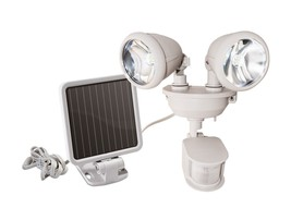 Maxsa 44218 Solar Powered Dual Head LED Motion Light WHITE NEW - $54.95