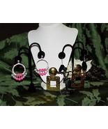 Runway Earrings Hammered Gold Hoop & Prism Drop Lot of 3 Metal Rhineston... - $9.89