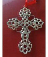 LENOX Christmas SILVER-PLATE CRYSTAL CROSS Ornament  ~ Sparkle and Scroll - $27.70