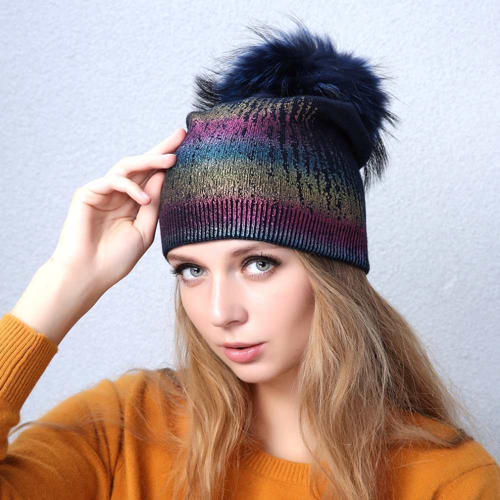 f5ca0f4c9764 R women s metallic color pompom beanies hat casual warm knitted cashmere slouchy  beanies with 44