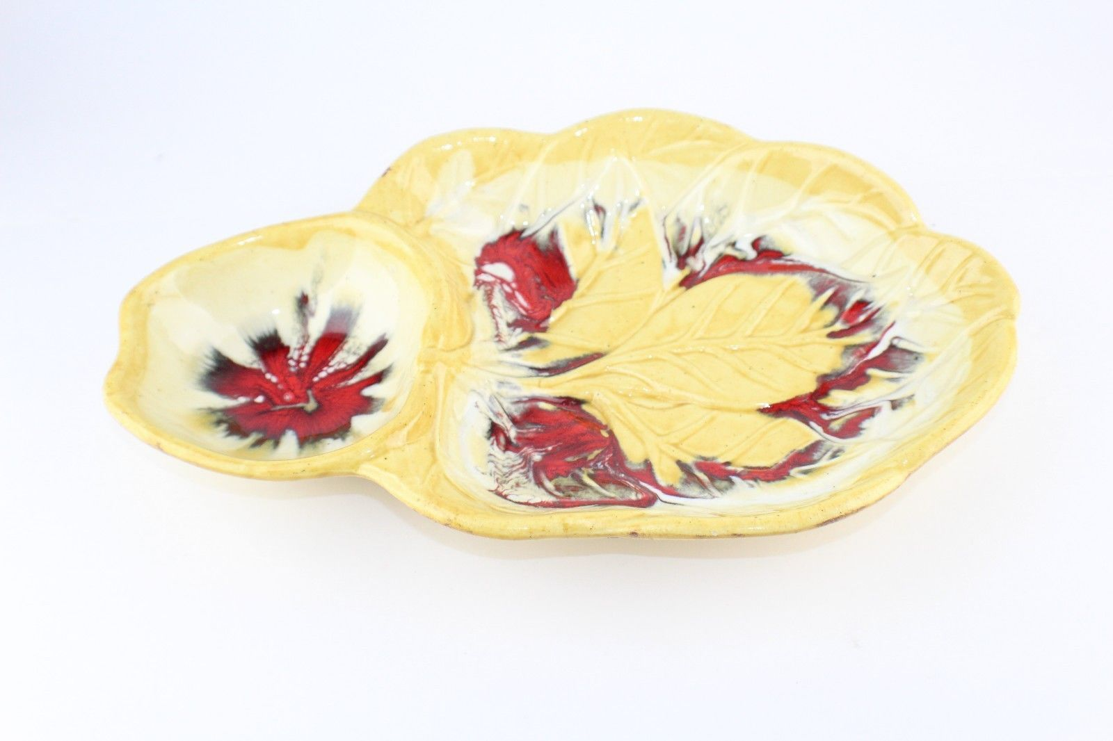 Fall Apple Leaf  Yellow Red Drip Glaze Snack Tray Serving Plate Wade Pottery Cal - $24.75